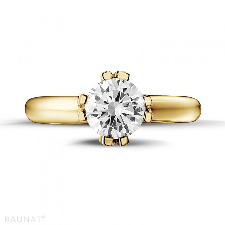 1.50 caraat diamanten solitaire design ring in geel goud met acht griffen