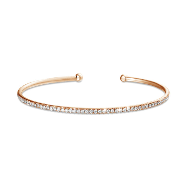 0.75 karaat diamanten slavenarmband in rood goud