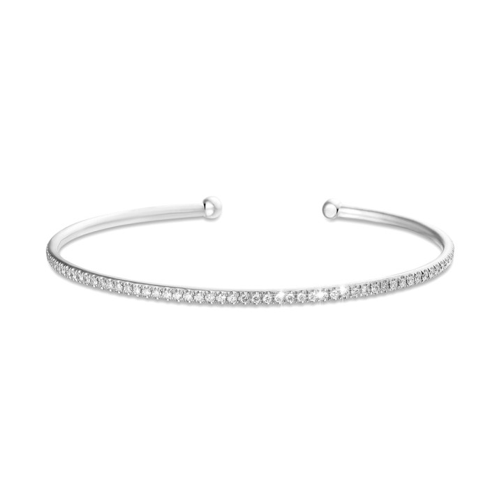 0.75 karaat diamanten slavenarmband in wit goud