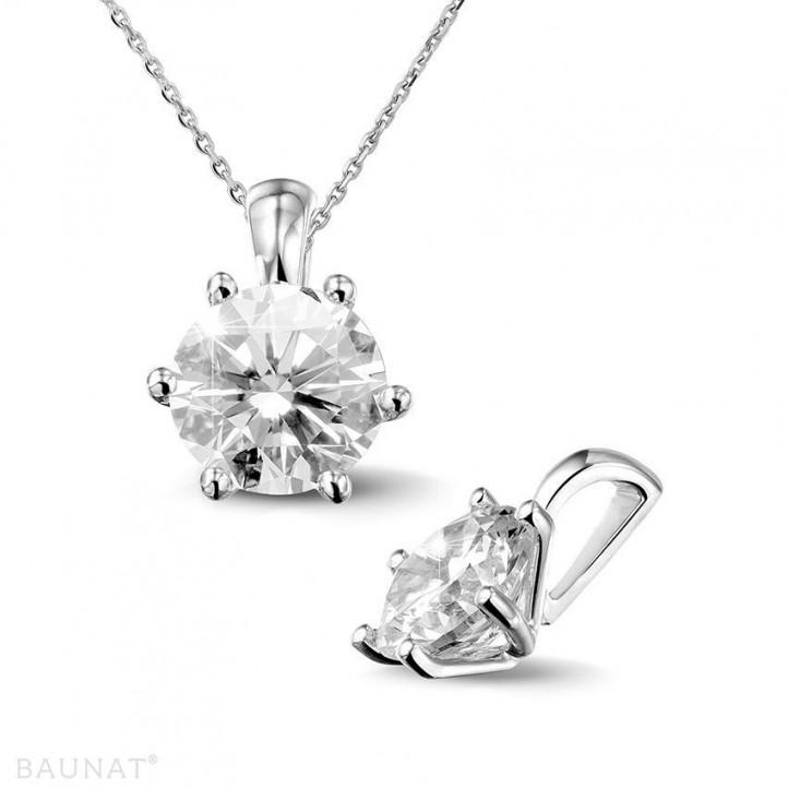 2.00 caraat solitaire hanger in platina met ronde diamant