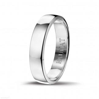 Mannen sieraden - Licht gebolde herenring van 5.00 mm in wit goud