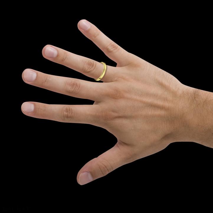 Licht gebolde herenring van 3.00 mm in geel goud