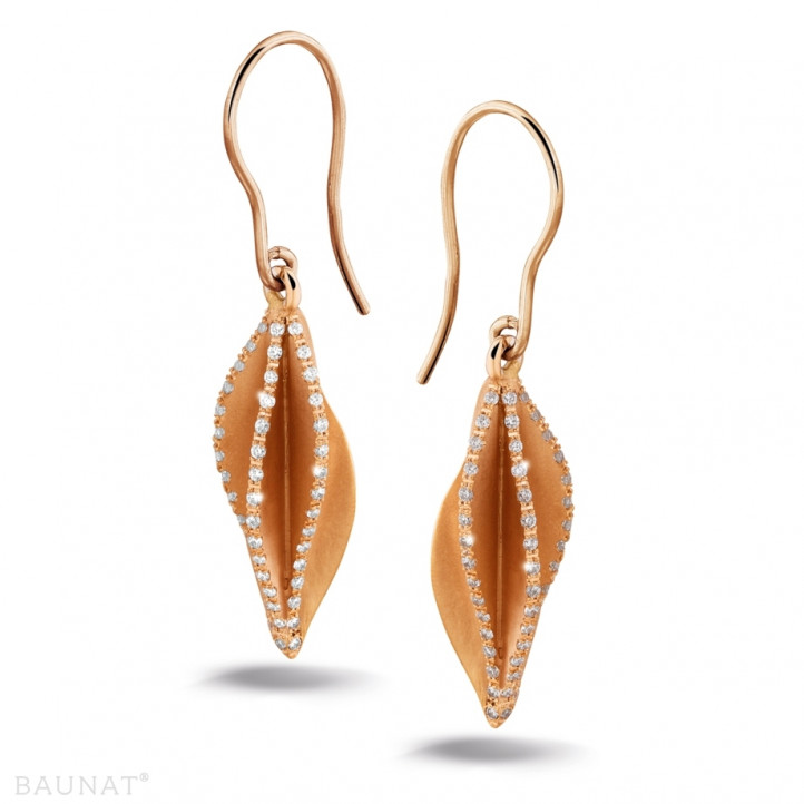 2.26 karaat diamanten design oorbellen in rood goud