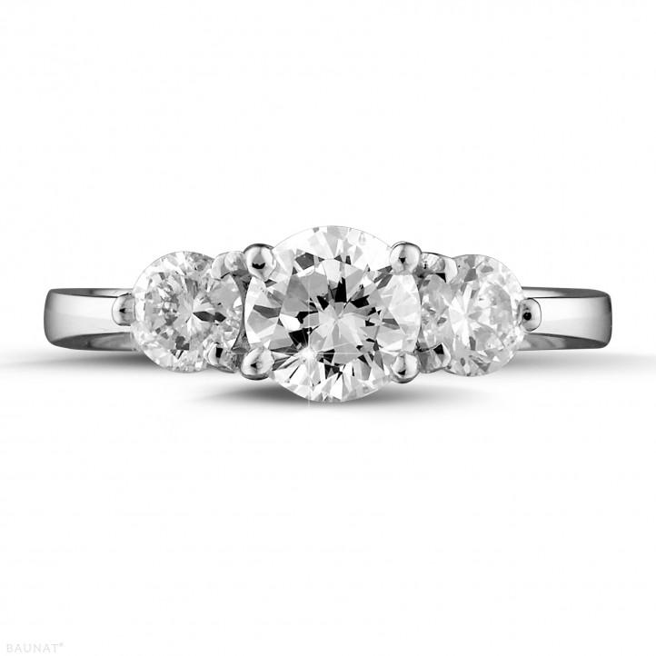 1.50 karaat trilogie ring in wit goud met ronde diamanten
