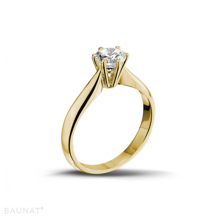 0.75 karaat diamanten solitaire ring in geel goud