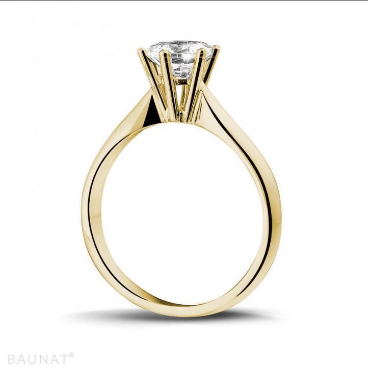 1.00 caraat diamanten solitaire ring in geel goud
