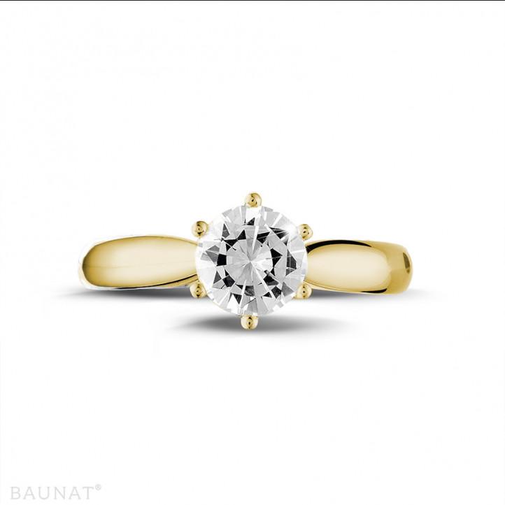 1.00 karaat diamanten solitaire ring in geel goud