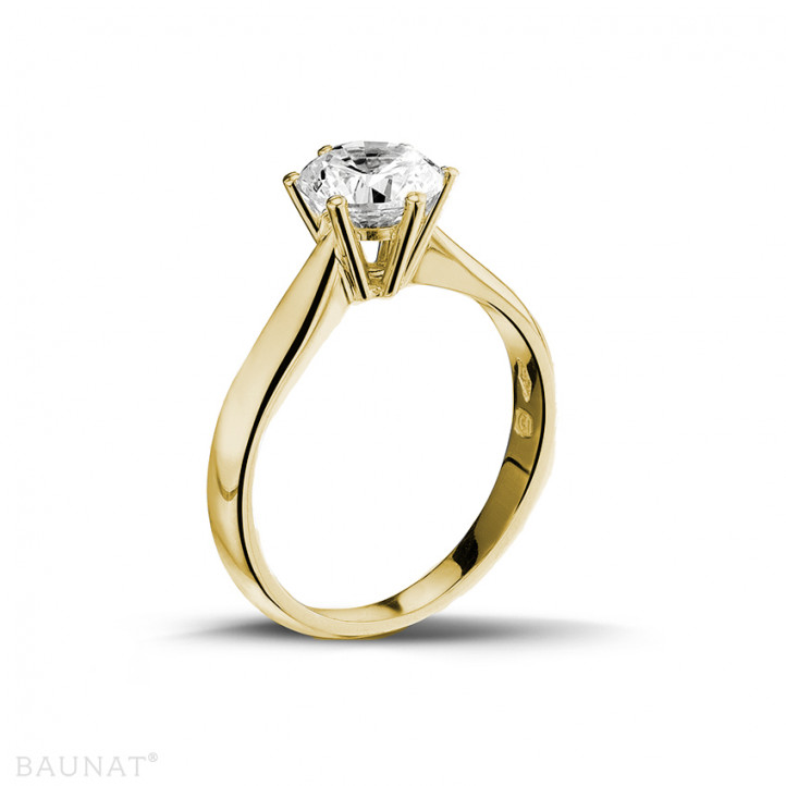 1.25 karaat diamanten solitaire ring in geel goud