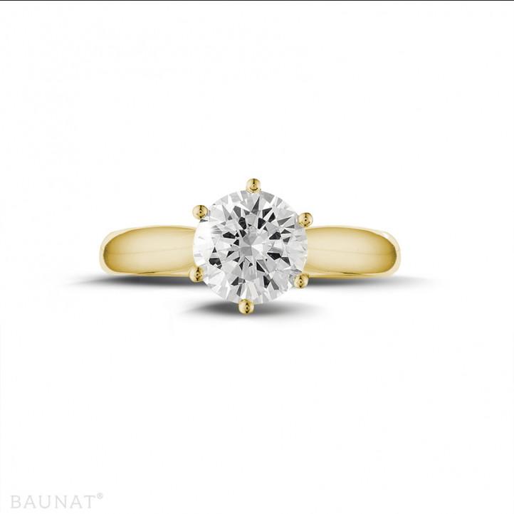 1.50 karaat diamanten solitaire ring in geel goud