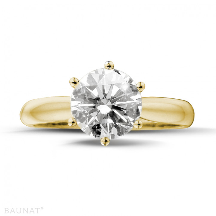 2.00 karaat diamanten solitaire ring in geel goud