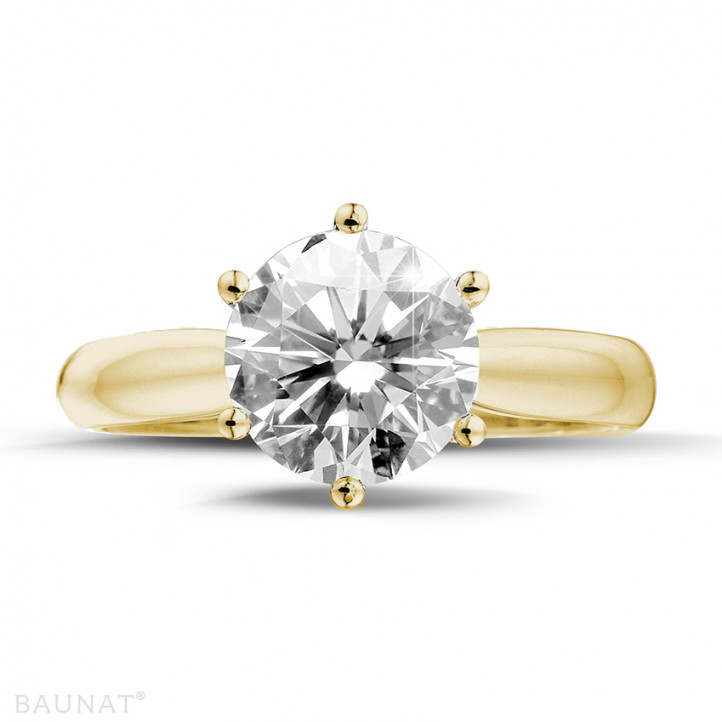 3.00 karaat diamanten solitaire ring in geel goud