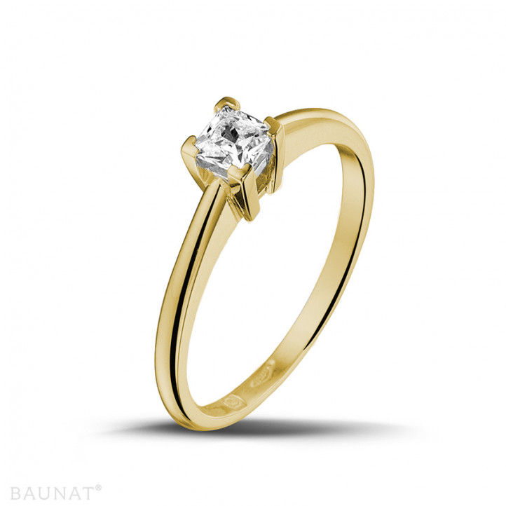 0.30 karaat solitaire ring in geel goud met princess diamant