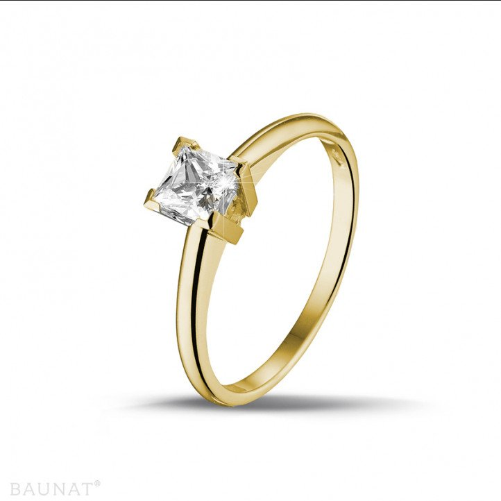 0.50 karaat solitaire ring in geel goud met princess diamant