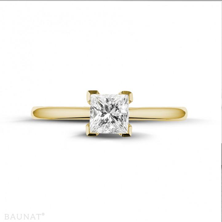 0.75 caraat solitaire ring in geel goud met princess diamant