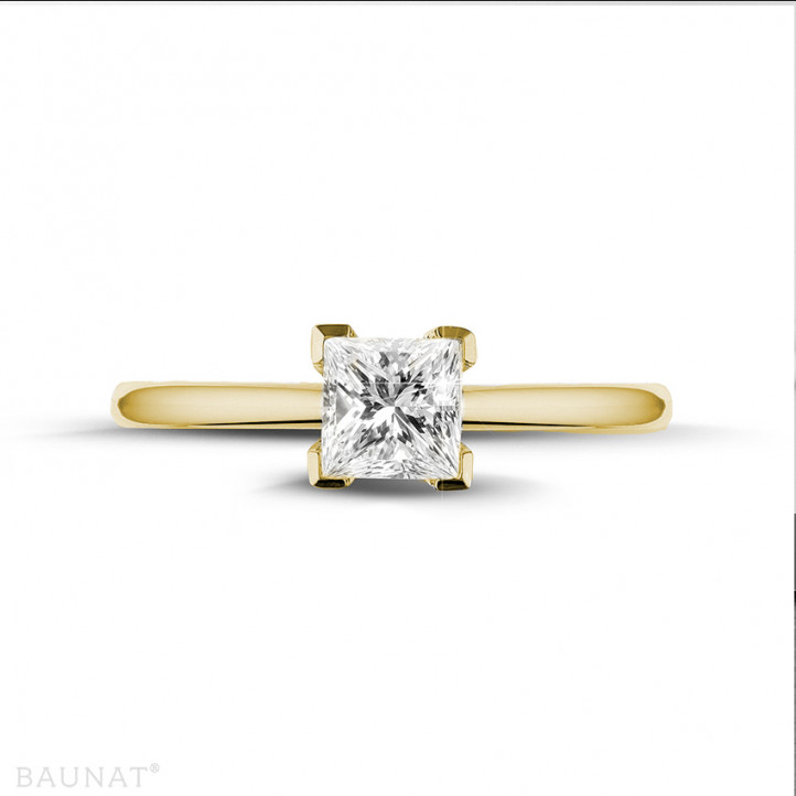 0.75 karaat solitaire ring in geel goud met princess diamant
