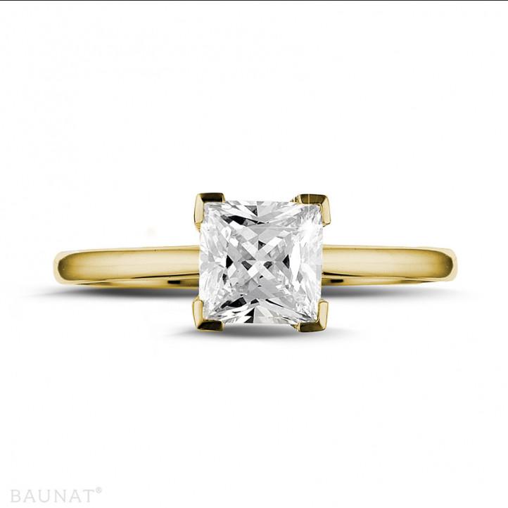 1.25 caraat solitaire ring in geel goud met princess diamant