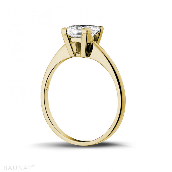 1.50 karaat solitaire ring in geel goud met princess diamant