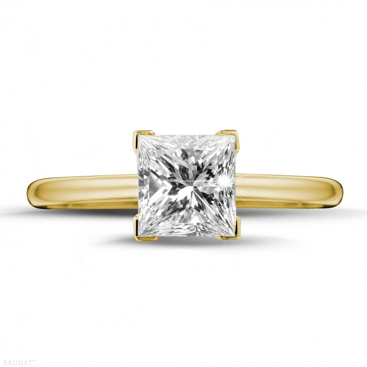 1.50 caraat solitaire ring in geel goud met princess diamant