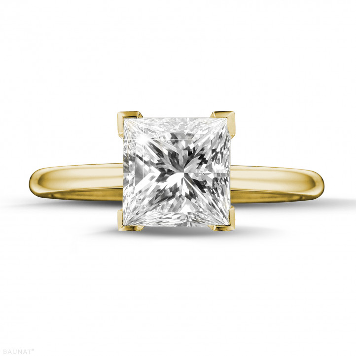 2.00 karaat solitaire ring in geel goud met princess diamant