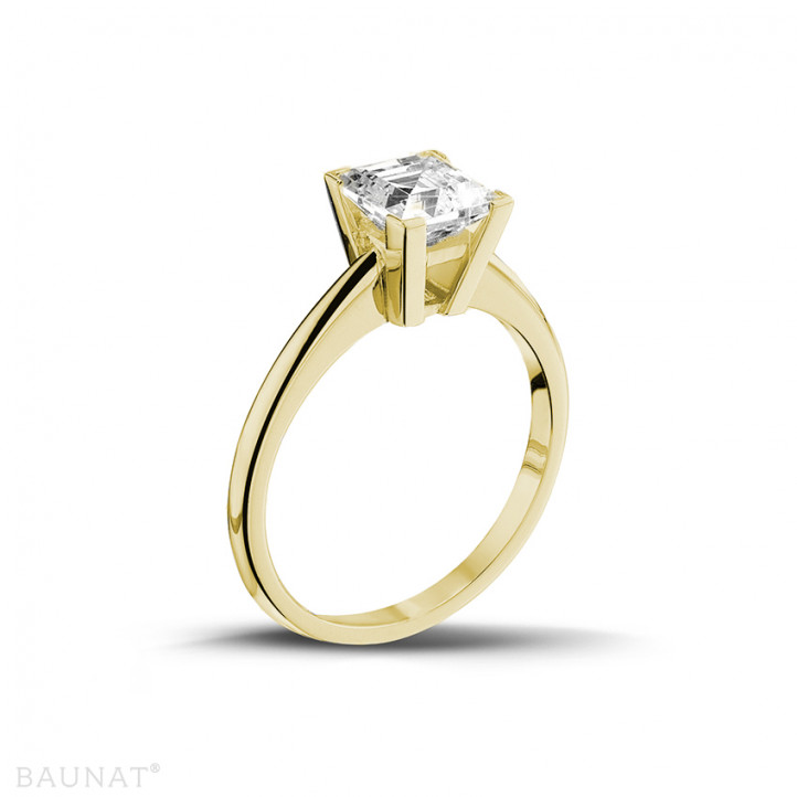 2.00 caraat solitaire ring in geel goud met princess diamant