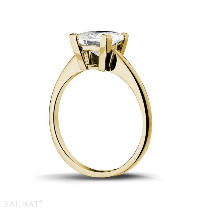 2.50 karaat solitaire ring in geel goud met princess diamant