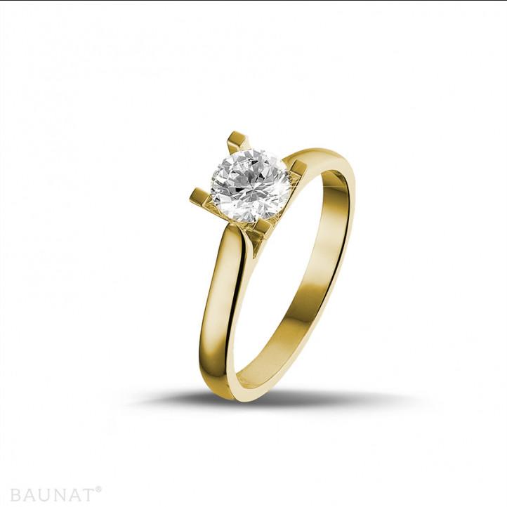 0.75 caraat diamanten solitaire ring in geel goud