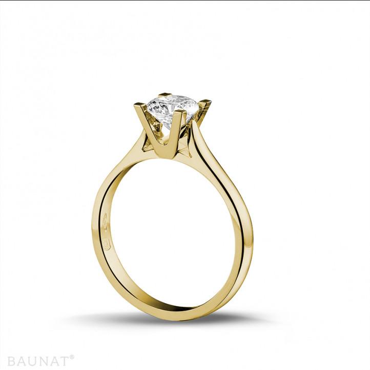 0.75 karaat diamanten solitaire ring in geel goud