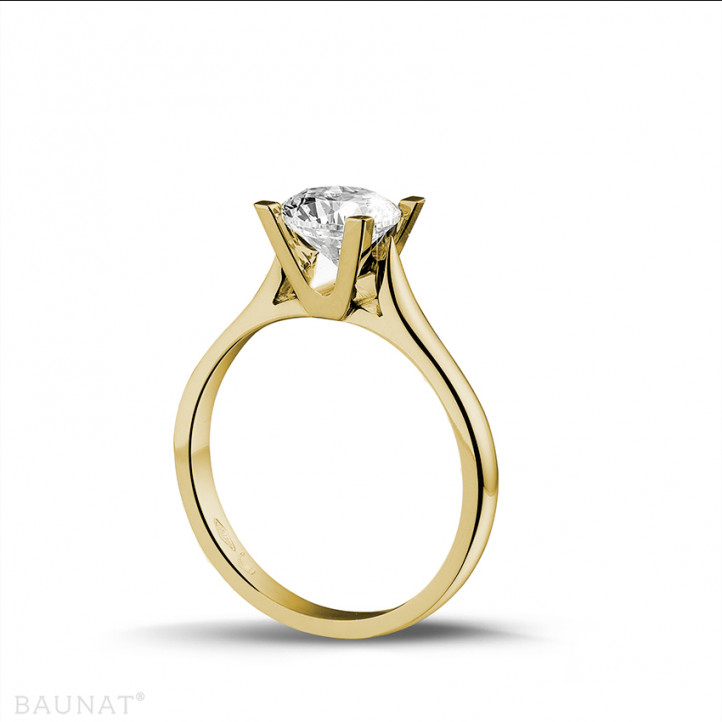 1.25 caraat diamanten solitaire ring in geel goud