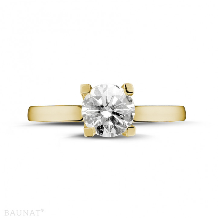 1.50 karaat diamanten solitaire ring in geel goud