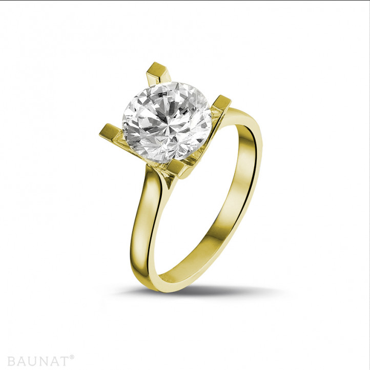 2.50 caraat diamanten solitaire ring in geel goud