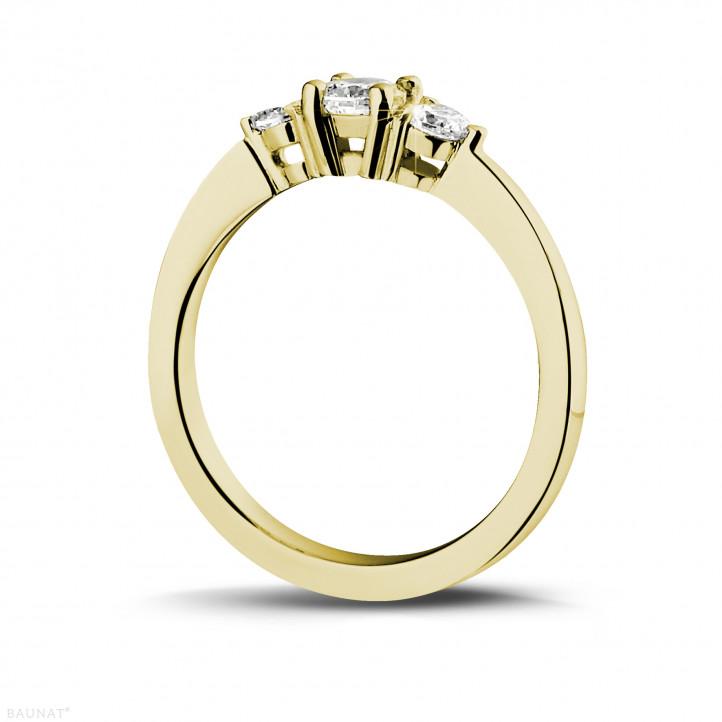0.45 caraat trilogie ring in geel goud met ronde diamanten