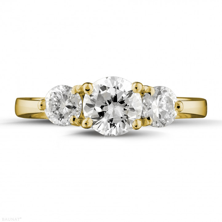 1.50 karaat trilogie ring in geel goud met ronde diamanten
