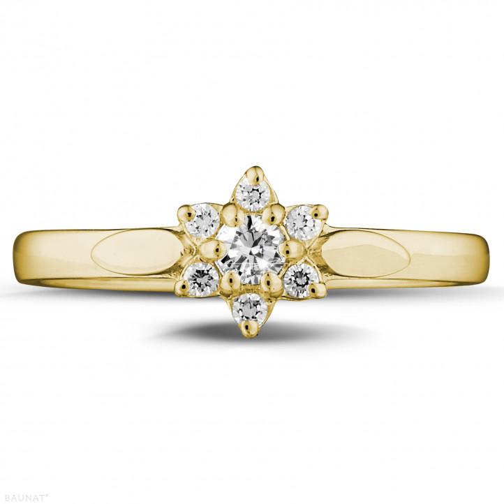 0.15 karaat diamanten bloemenring in geel goud