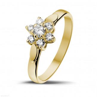 Geelgouden Diamanten Ringen - 0.30 caraat diamanten bloemenring in geel goud