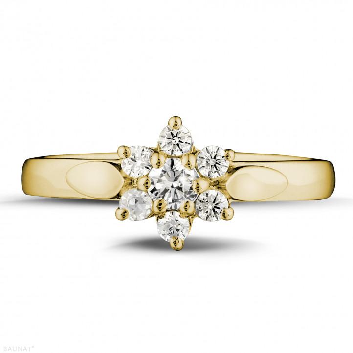 0.30 caraat diamanten bloemenring in geel goud
