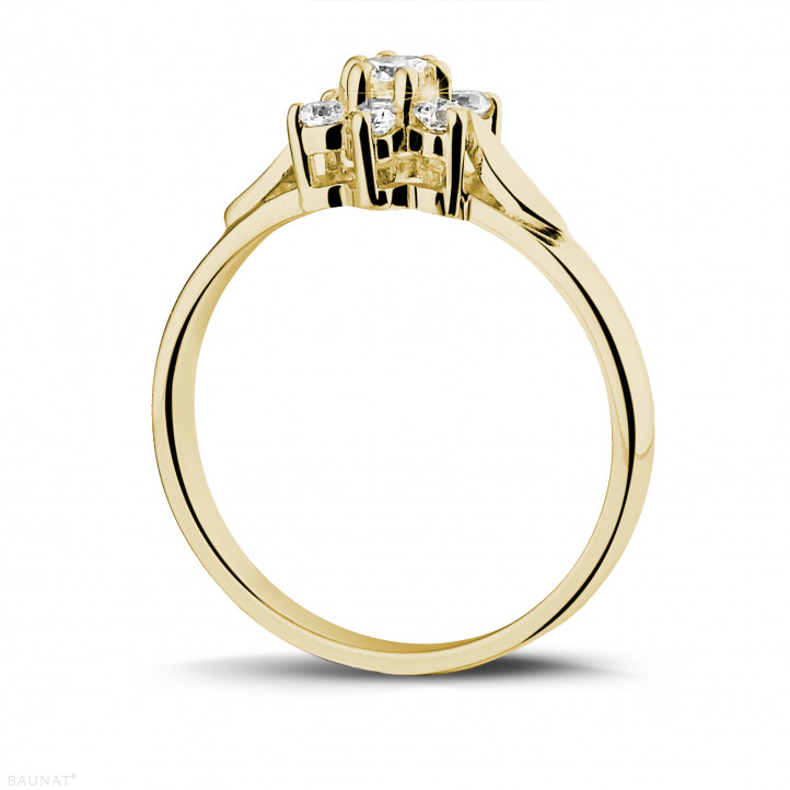 0.30 karaat diamanten bloemenring in geel goud