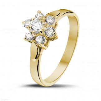 0.50 karaat diamanten bloemenring in geel goud