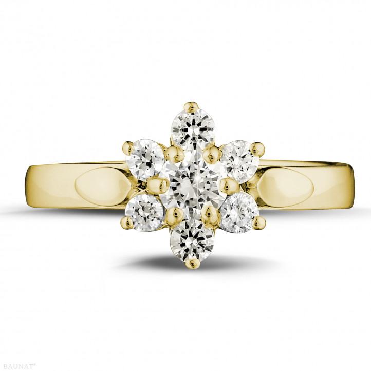0.50 caraat diamanten bloemenring in geel goud