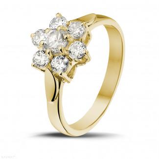 1.00 caraat diamanten bloemenring in geel goud
