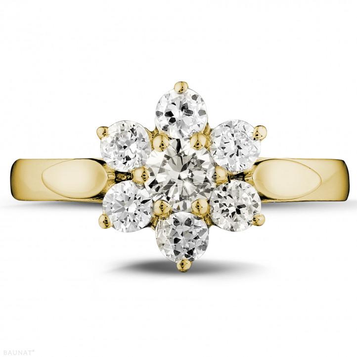 1.00 karaat diamanten bloemenring in geel goud