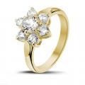 1.15 caraat diamanten bloemenring in geel goud
