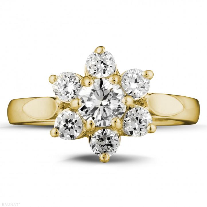 1.15 karaat diamanten bloemenring in geel goud