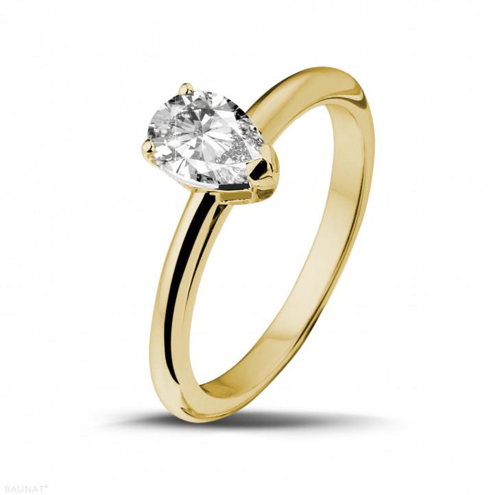 1.00 karaat solitaire ring in geel goud met peervormige diamant