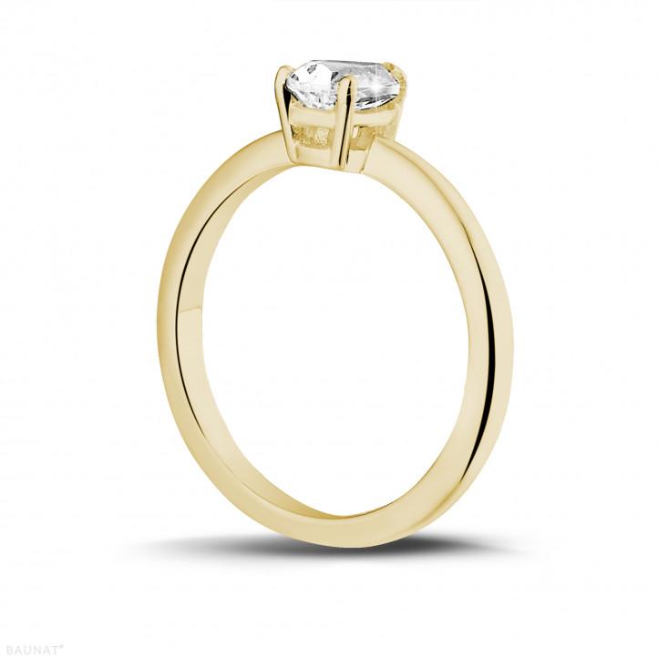1.00 caraat solitaire ring in geel goud met peervormige diamant
