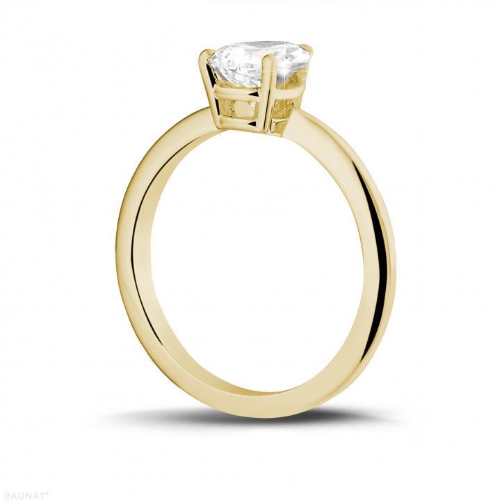 1.50 karaat solitaire ring in geel goud met peervormige diamant