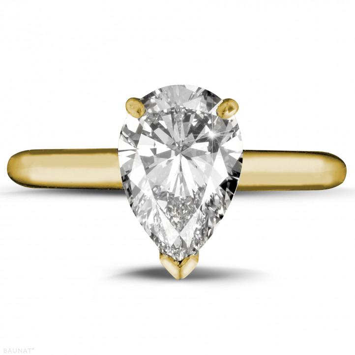 2.00 karaat solitaire ring in geel goud met peervormige diamant