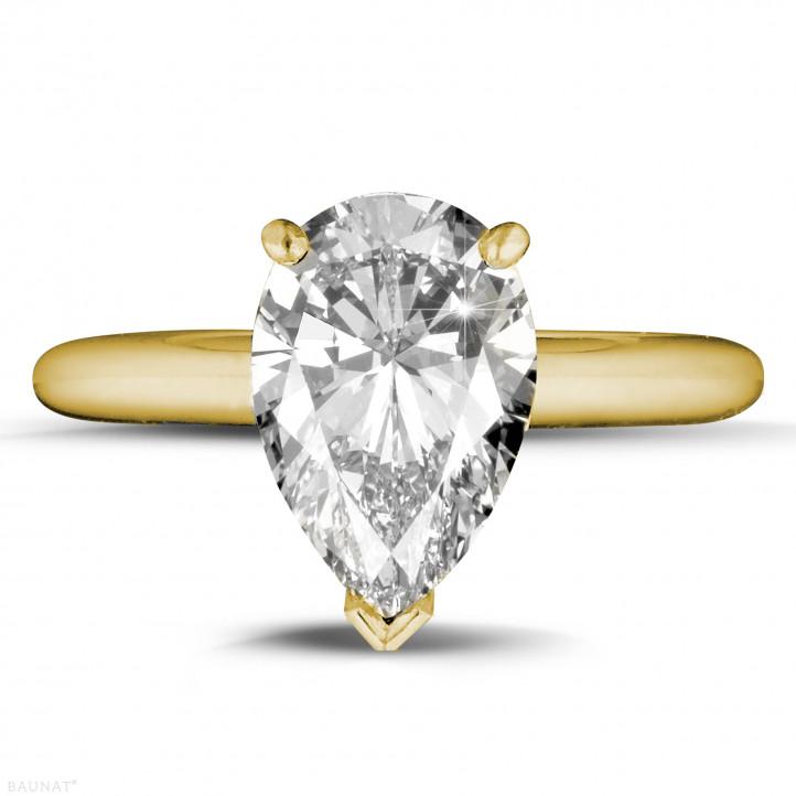 3.00 karaat solitaire ring in geel goud met peervormige diamant