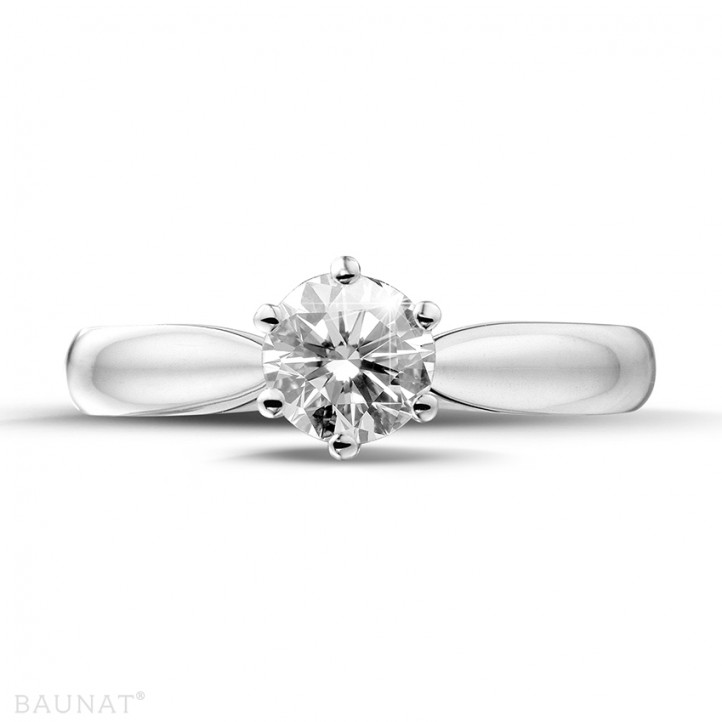 0.75 karaat diamanten solitaire ring in platina
