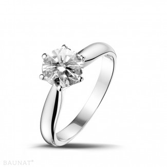 1.25 caraat diamanten solitaire ring in platina