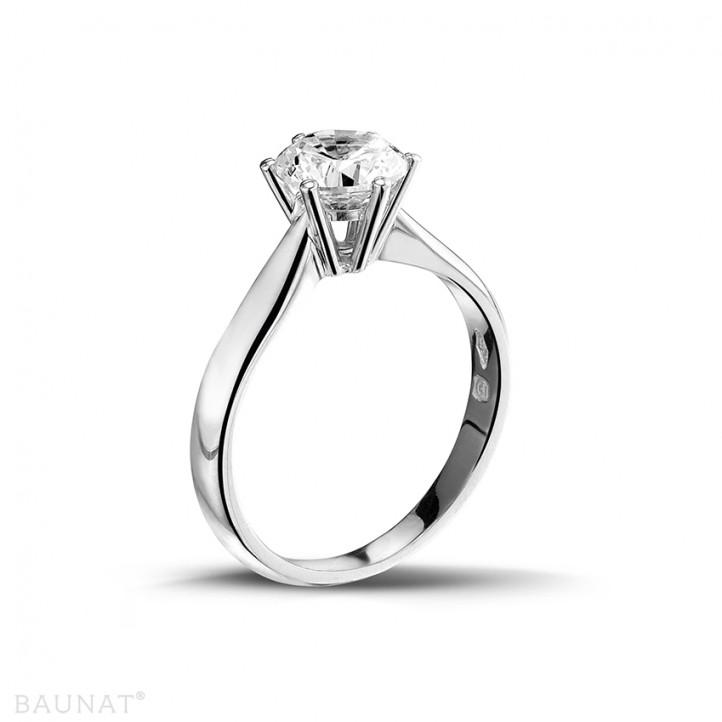 1.25 karaat diamanten solitaire ring in platina